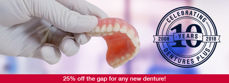 10th Anniversary Special – 25% off the gap for any new dentures!